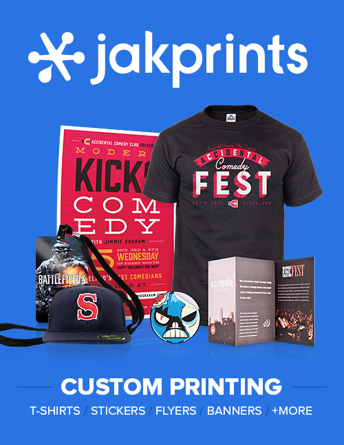 Jakprints has teamed up as an official print sponsor of the Accidental Comedy Festival for the second year running. Since 1999, Jakprints has focused on supporting music and art in CLE by printing Business Cards, Postcards, T-Shirts, Snapbacks, Banners, Giclées and Stickers. Plus, they plant one tree with every order. Their catalog of products has enabled ACF to put out professional grade materials to the public. If you need any print work done, email Jimmie Graham at jgraham@jakprints.com. He will take care of you for being a part of the ACF support group!