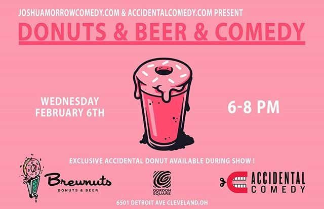 Hey all our own @joshua.morrow.73 and @thecodycooper are kicking off a brand new happy hour show at @brewnuts in the @gordonsquareartsdistrict this Wednesday! Stop by between 6-8 for free laughs and get your donut  and beer fix!