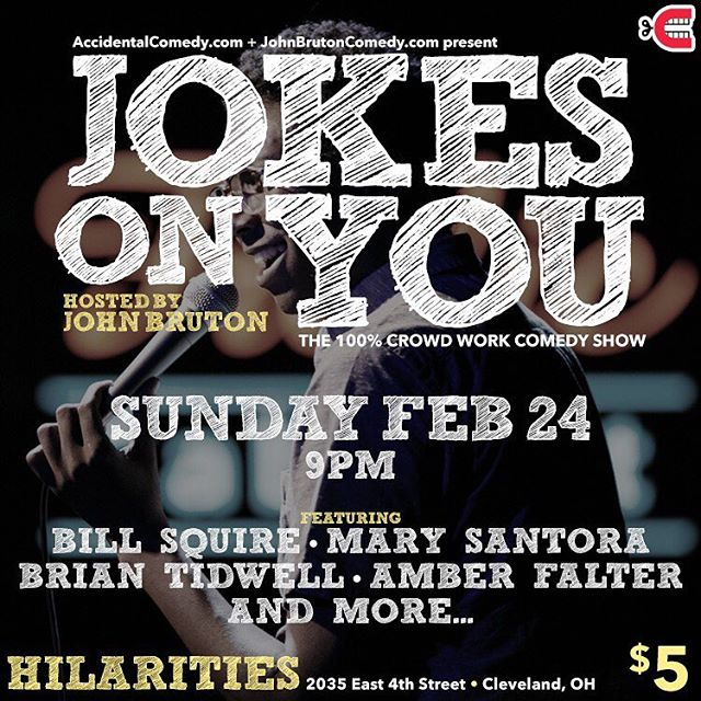 Sunday! New show... Jokes On You! 100% crowd work featuring @marysantoracomedy @brian_btidy @billsquire @ambermariefalter and more. This is the show where the audience talking back actually does help the comedian. 9pm at @pickwickandfrolic for $5 Photo cred.: @rustinmccann