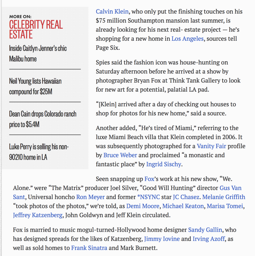 Page Six: Calvin Klein spotted house-hunting in Los Angeles