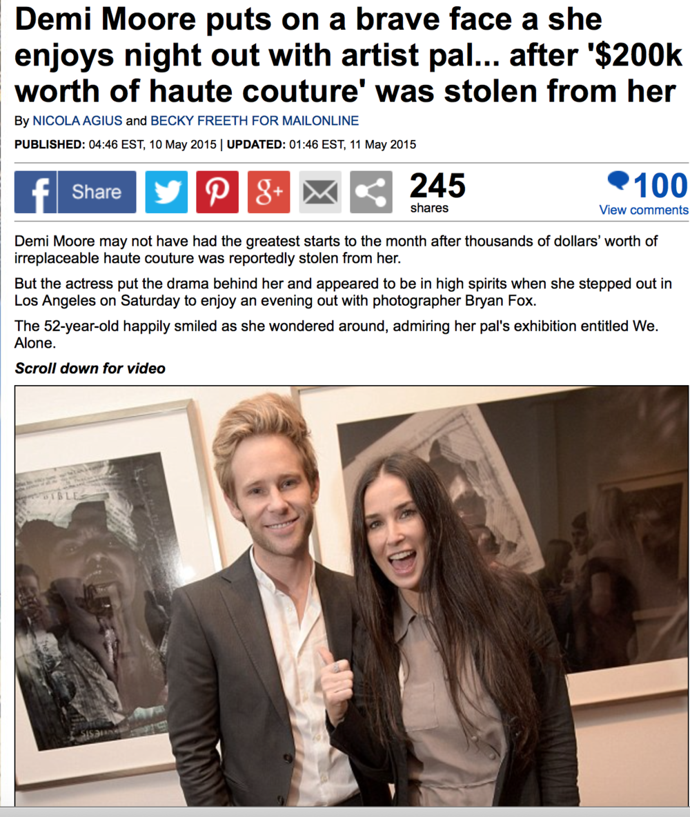 Daily Mail: Demi Moore puts on a brave face a she enjoys night out with artist pal... after '$200k worth of haute couture' was stolen from her