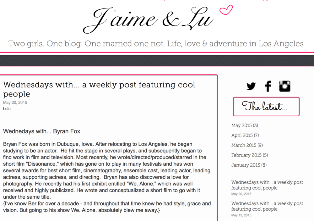 J'aime and Lu: Wednesdays with... a weekly post featuring cool people