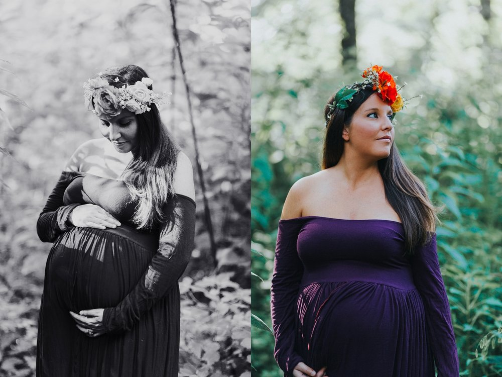 Maternity photo outside purple dress