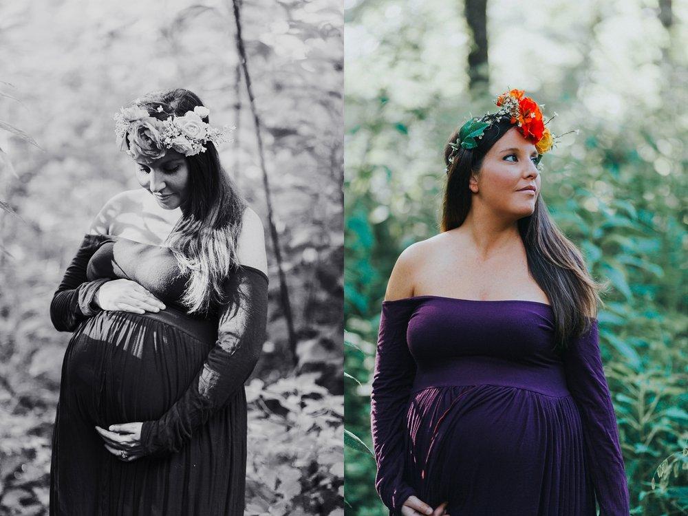 Maternity photo outside purple dress