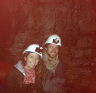 ie: hard hats, head torches, on a boat, in a cave