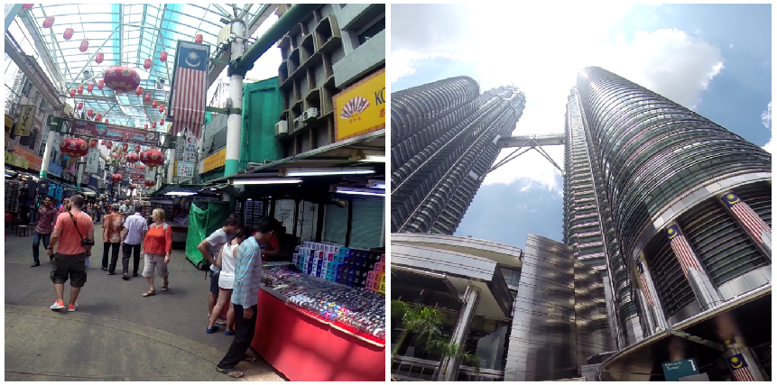 Left: Petaling Road in Chinatown   Right: Petronas Twin Towers
