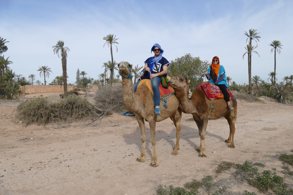 Riding camels in Marrakech in a Las-Vegasy-landscape is an experience that I will never forget