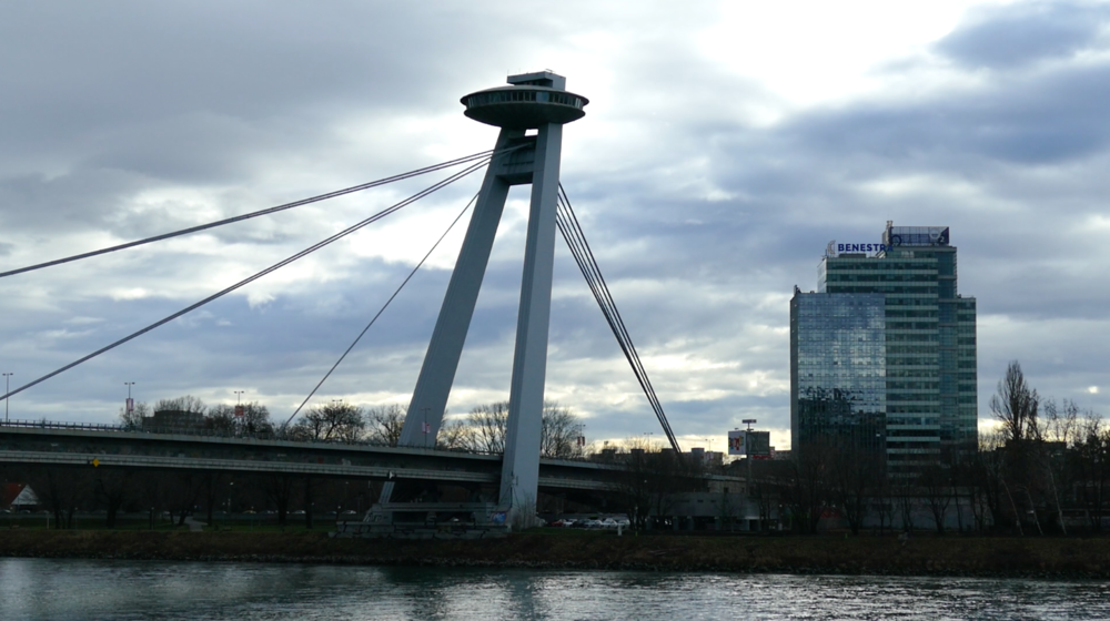 "The so-called ""famous"" UFO Bridge in Bratislava, Slovakia."
