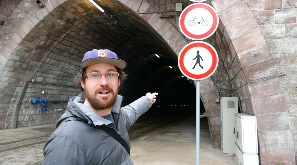 This sign makes it look like bikes and pedestrians are welcome in this Slovakian tunnel.