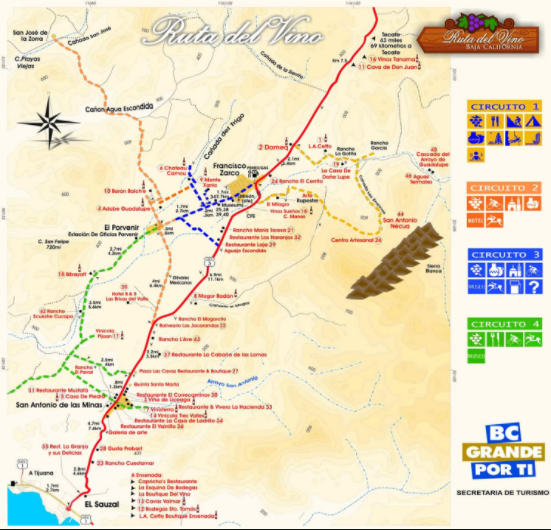 """""""Ruta del Vino"""", the primary highway through the Guadalupe Valley"""