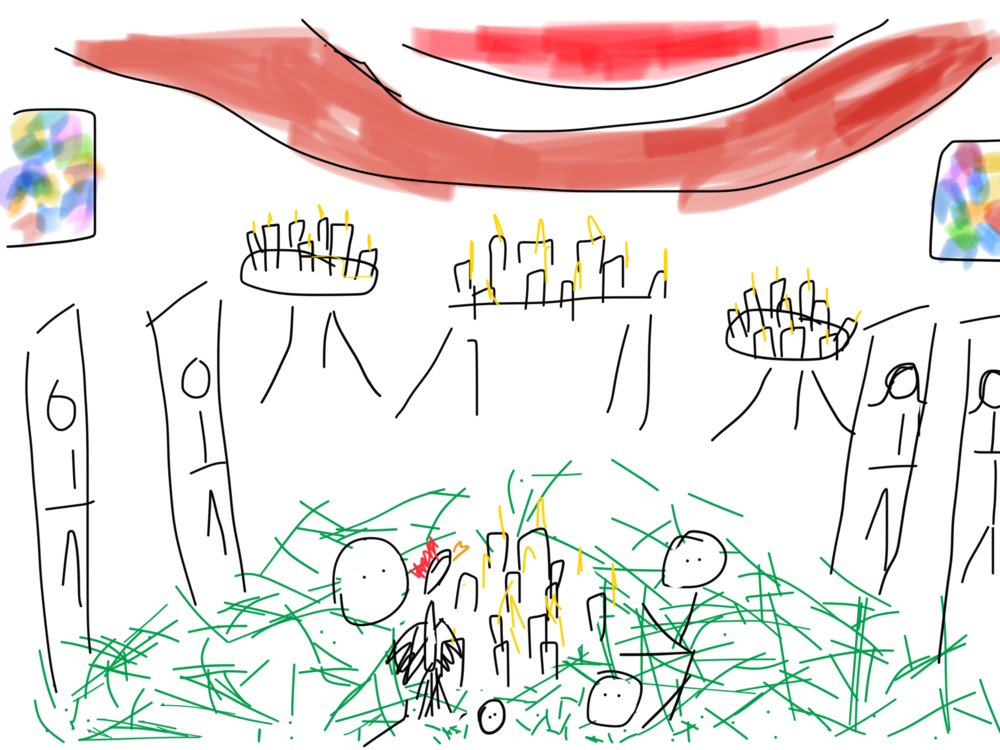 A sketch of the inside of the church in Chamula, please pay special attention to the stained glass windows, the saints lining the walls, the pine needles on the ground, and the chicken for sacrifice.