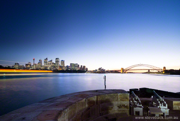 Landscape Photography Shoot: Sydney Harbour Bridge and City at Dusk taken from Fort Denison for Destination New South Wales, Tourism promotion.