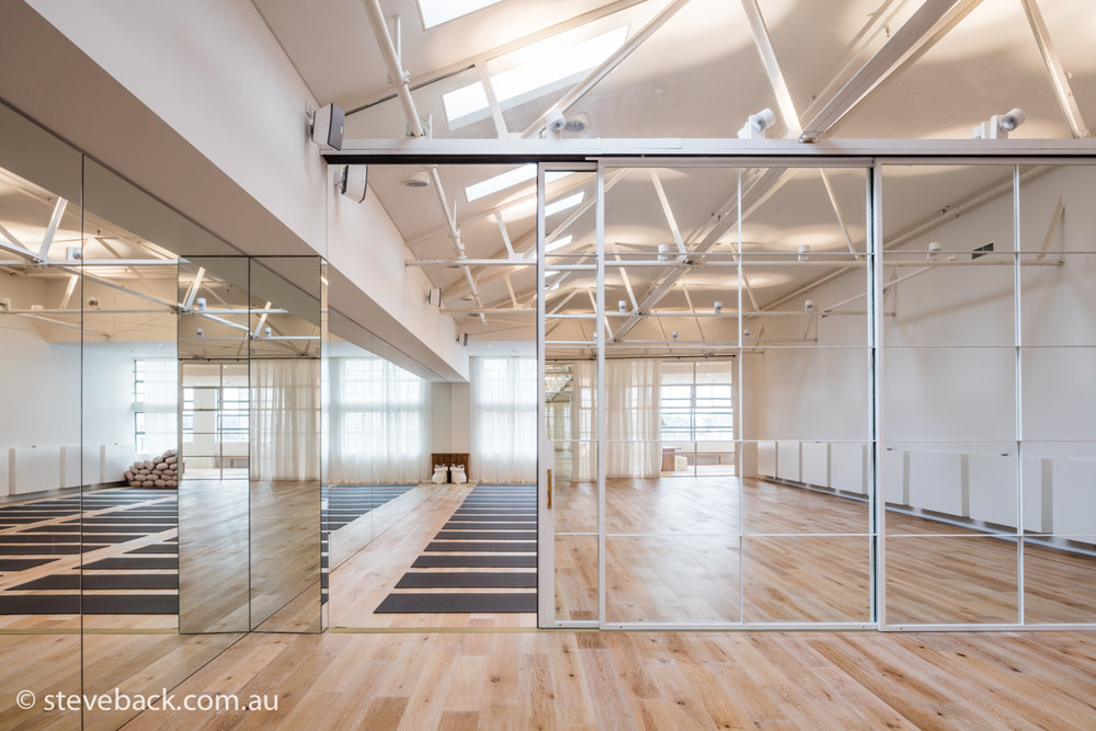 one hot yoga interiors photography