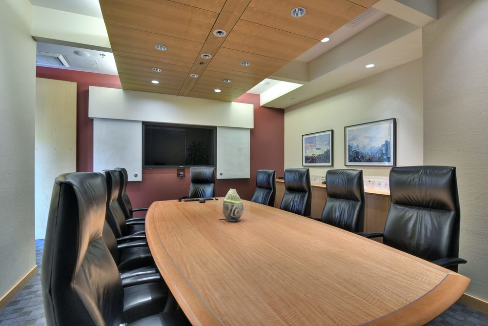 Executive boardroom with on-wall TV