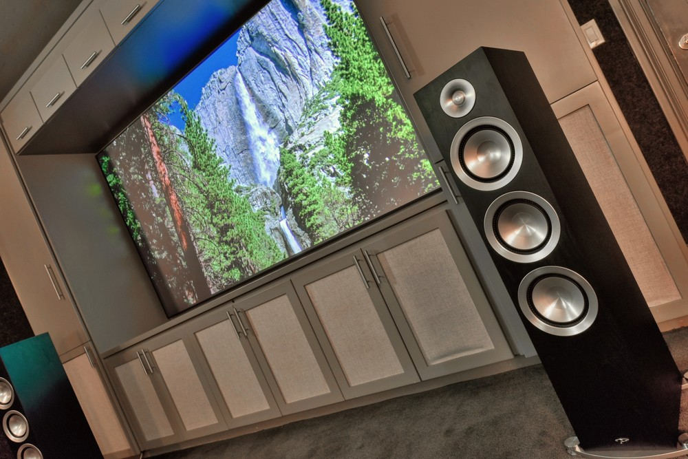 Dedicated home theater room with Paradigm Prestige 85F floor  standing speaker pair