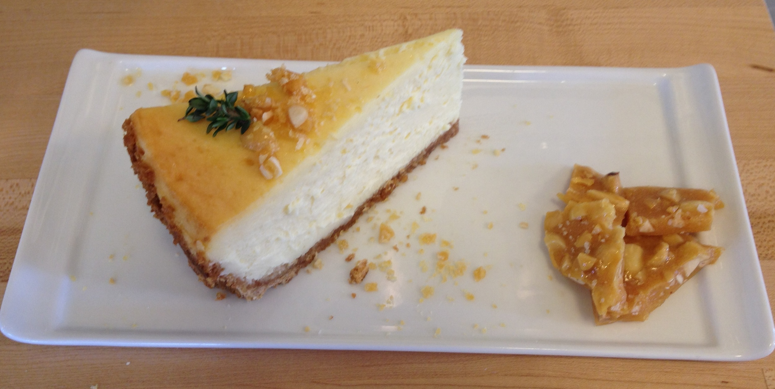 Smooth & creamy cheesecake with homemade almond brittle with San Juan Sea Salt!