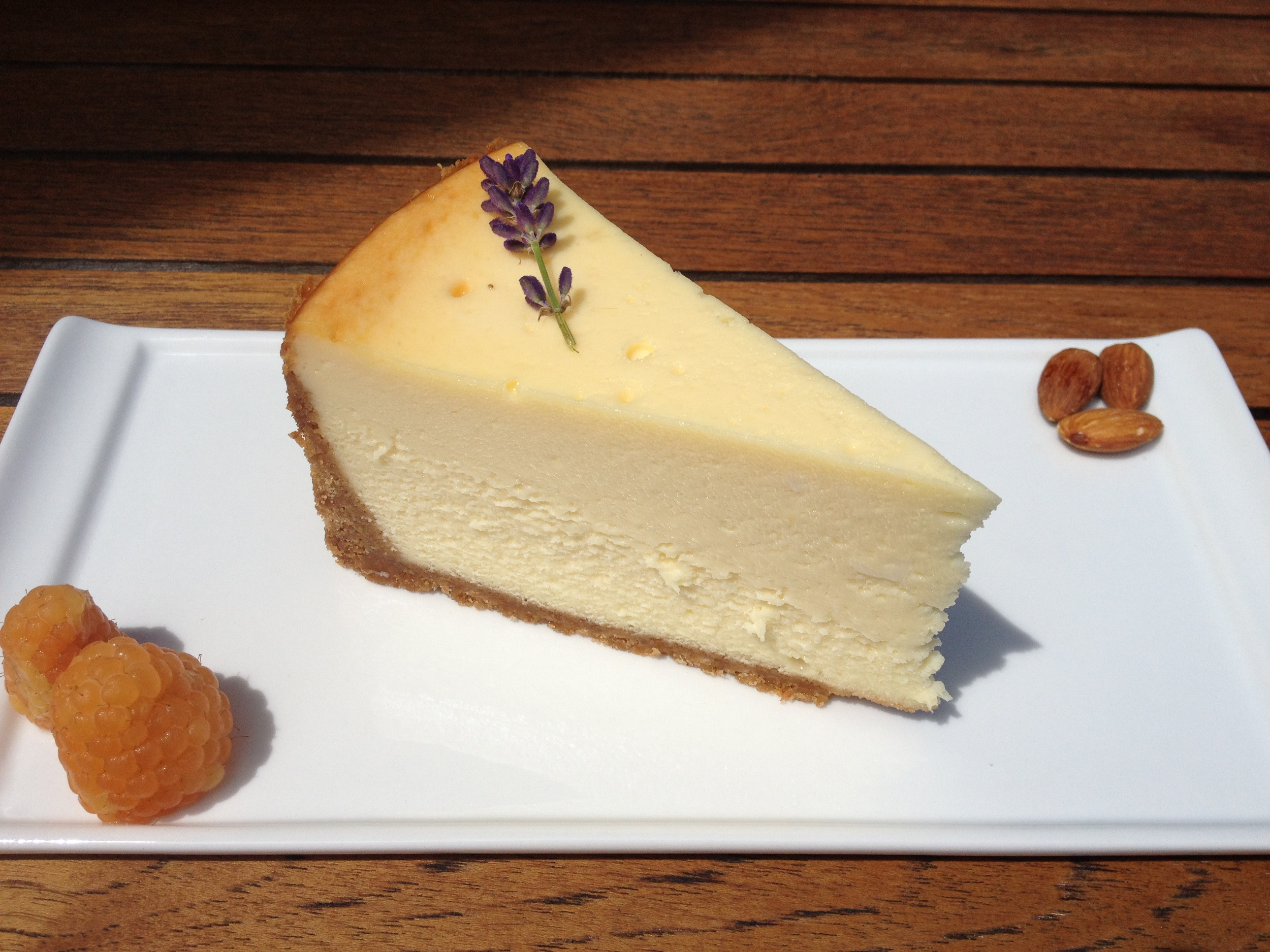 Housemade Almond Cheesecake with graham cracker crust.
