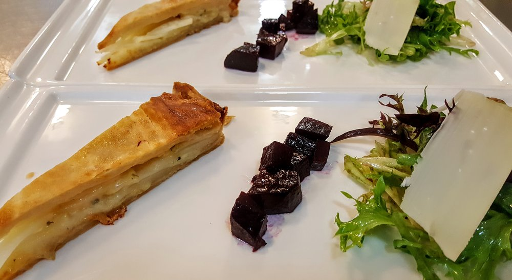 Potato and Gruyere Tart Roasted Beets, Mixed Green Salad, Shallot Vinaigrette