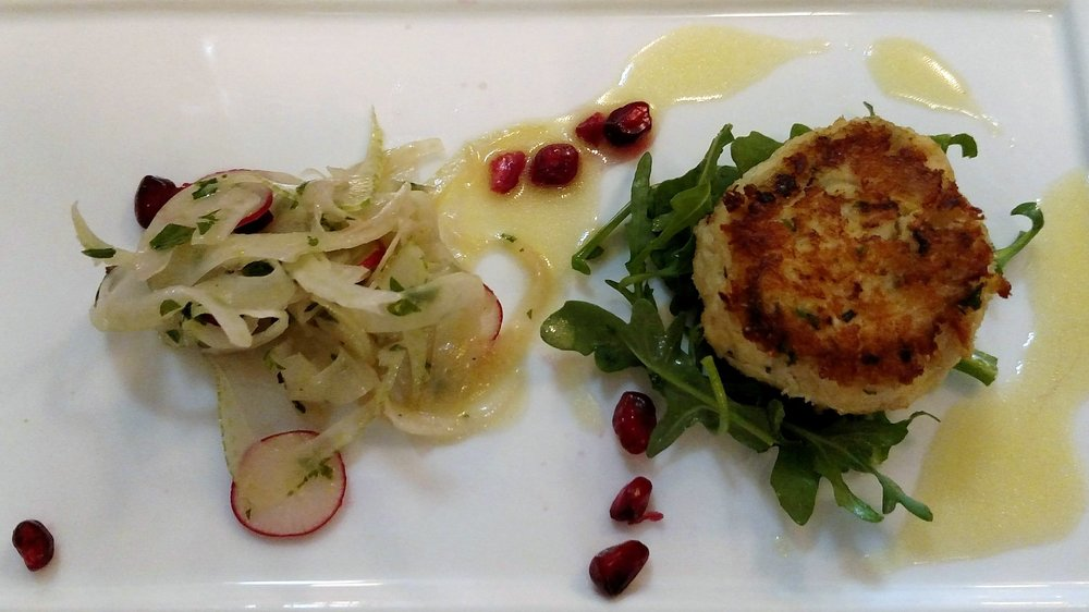 Dungeness Crab Cake Fennel, Radish and Pomegranate Salad, Lemon Mustard Vinaigrette