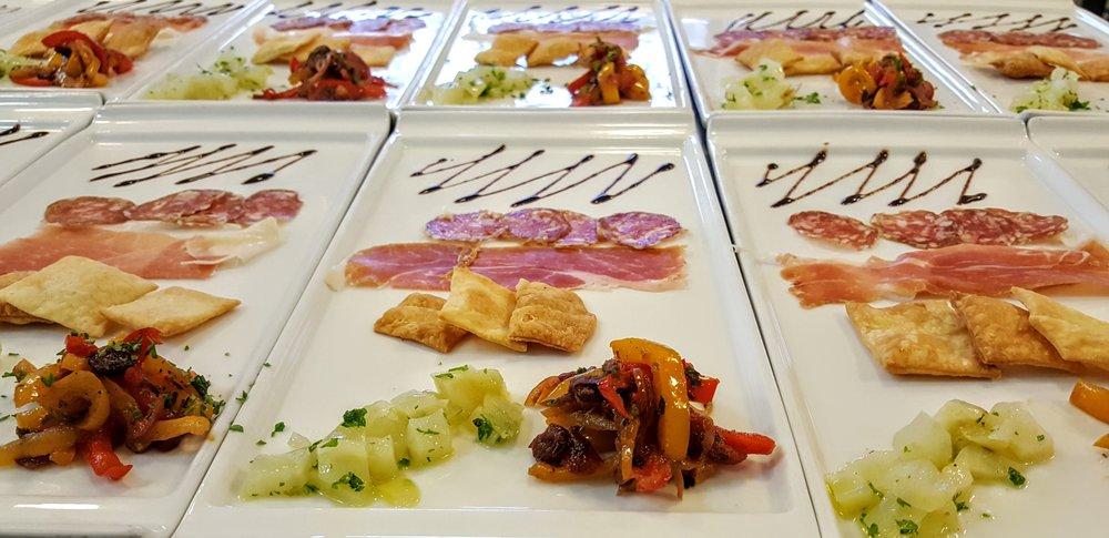 Antipasti  Prosciutto di Parma, Sopressata, red & yellow pepper agrodolce, braised fennel, spring mix