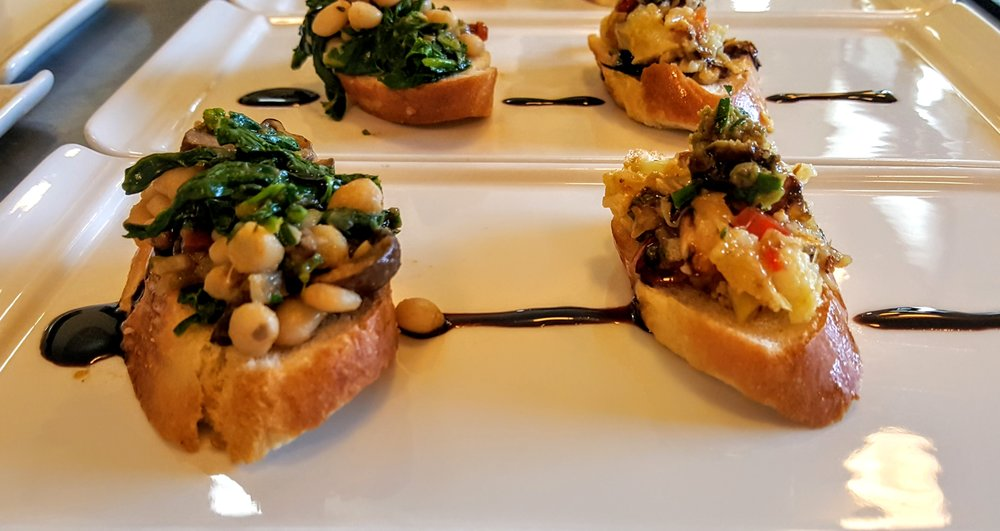 Bruschetta  Cannellini bean & rappini salad; Roasted vegetables, anchovy & olive tapenade