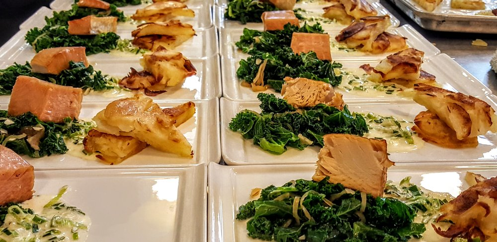 Potatoes Anna  Smoked wild salmon, braised kale, creamed scallions