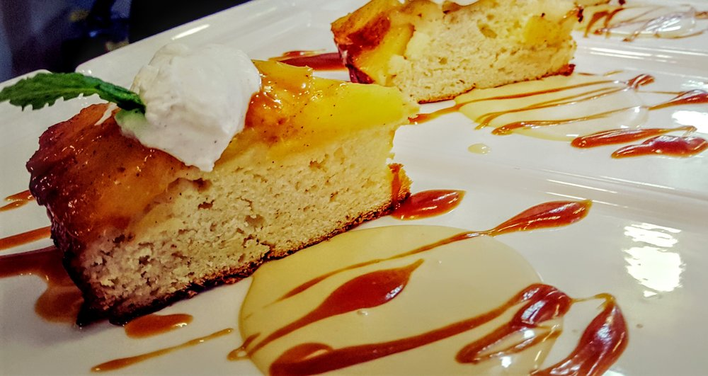Pineapple Upside Down Cake  Spiced rum crème anglaise, caramel sauce