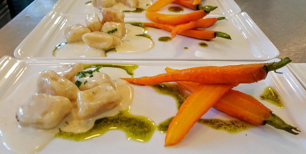 Gnocchi  Baby carrots, parmigiano reggiano cream sauce