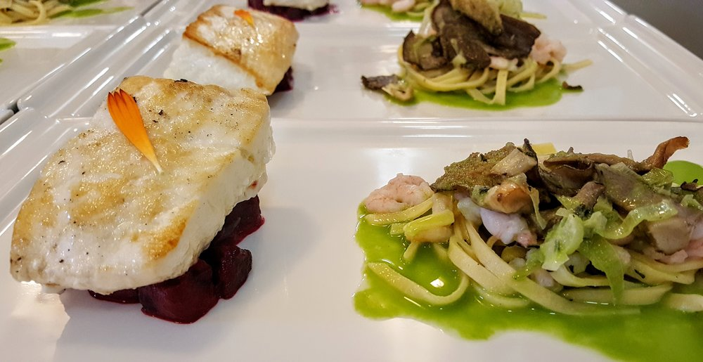 Seared Halibut  Oregon bay shrimp, housemade tagliatelle with local blue oyster mushrooms, roasted beets, cucumber nage