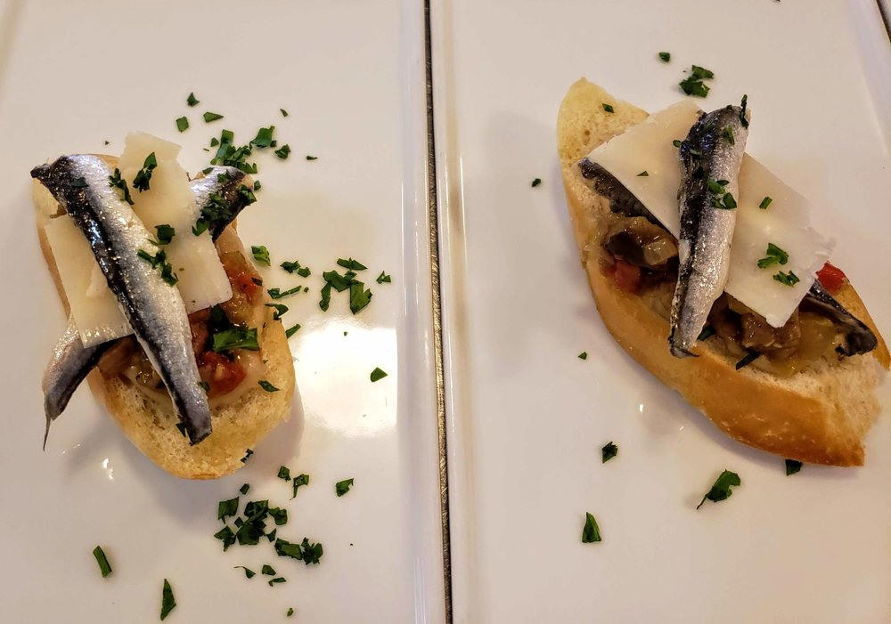 Bruschetta  White Bean & Parmesan Puree, Ratatouille, Spanish White Anchovies