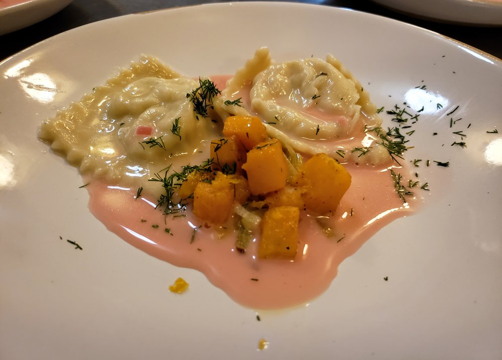 Shrimp Ravioli  Melted Leeks, Roasted Butternut Squash, Blood Orange Butter Sauce