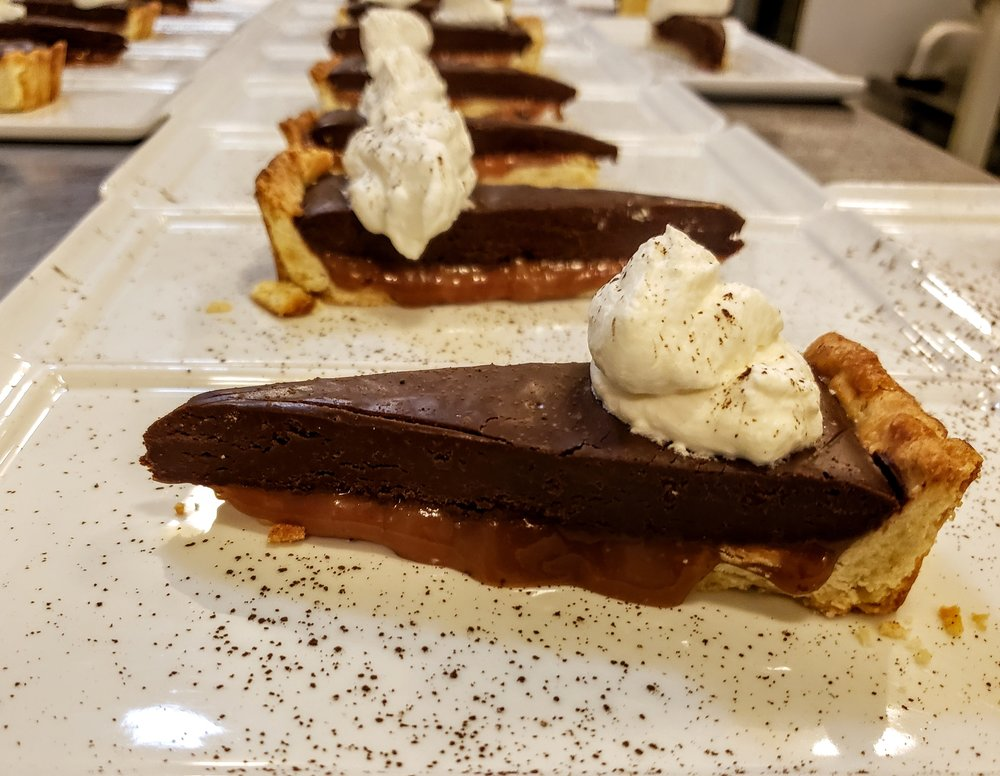 Chocolate Caramel Tart  Chantilly Cream