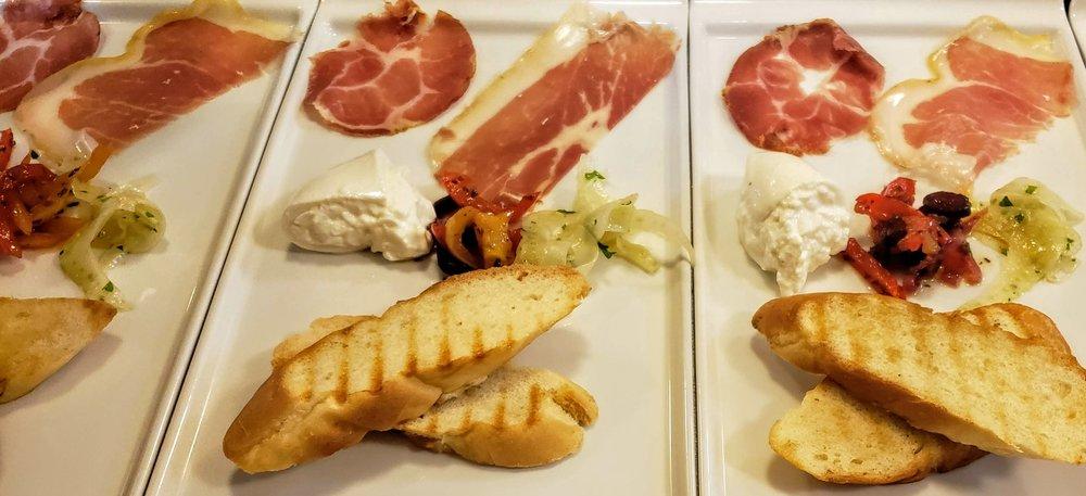 Antipasti  Coppa, Prosciutto di Parma, Burrata, Agrodolce Peppers, Shaved Fennel