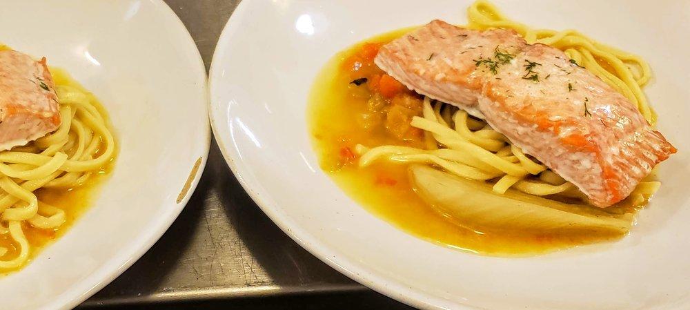 Wild Coho Salmon  Tagliatelle, Braised Fennel, Bouillabaisse Nage