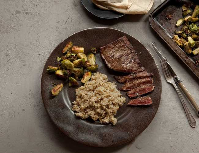 Skirt Steak with Creamy Quinoa and Maple Brussel Sprouts