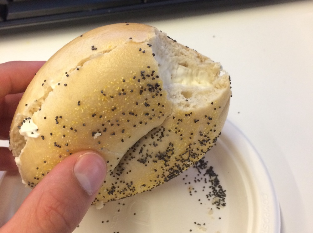 An uninspired bagel from Bay Area Bagels in Burlingame.