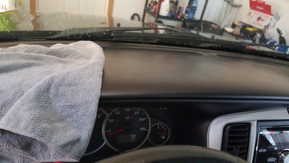 Now onto the dashboard. Simply spray some APC onto the microfiber and wipe all the dirt. Once that is done come back with the protectant and wipe the dash again leaving a clean, UV protected surface.