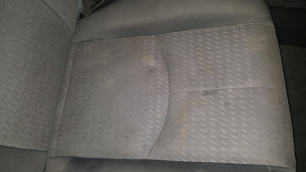 Now I will show you how to shampoo your seats. As you can see there are a few stains and spots in what would be otherwise clean seats.