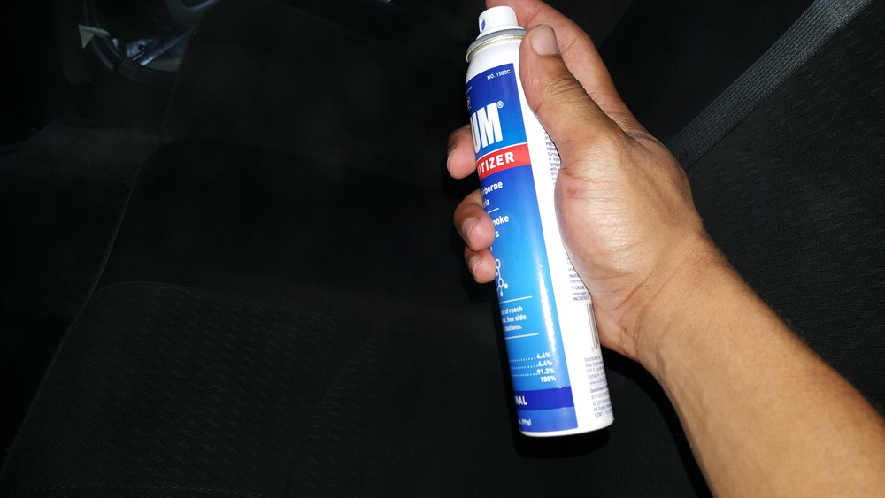 This is a good time to spray your interior smell good of choice. I use OZIUM air sanitizer as it is a neutral smell and works to remove odors without leaving a strong smell clients might not like.