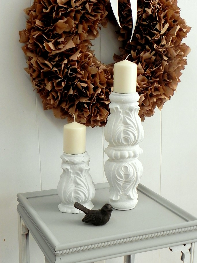 Tall pillar votive metal white painted candle holder $85.00