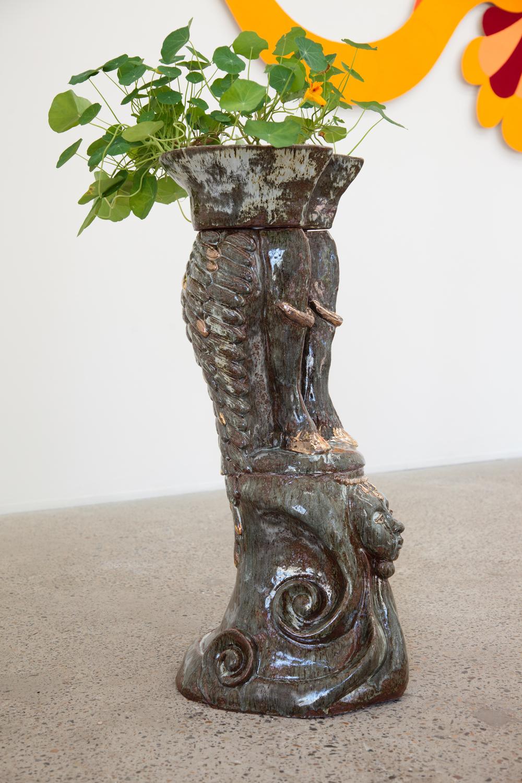 Goat Flower Pot, hand built cermic, stoneware glaze, gold lustre, nasturtiums, 100cm x 40cm x 30cm