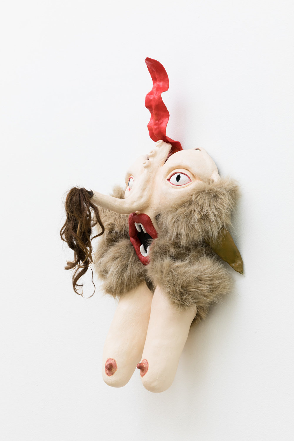 She Devil 2018 hand built ceramic, oil paint, fake fur, human hair, polymer clay, acrylic paint