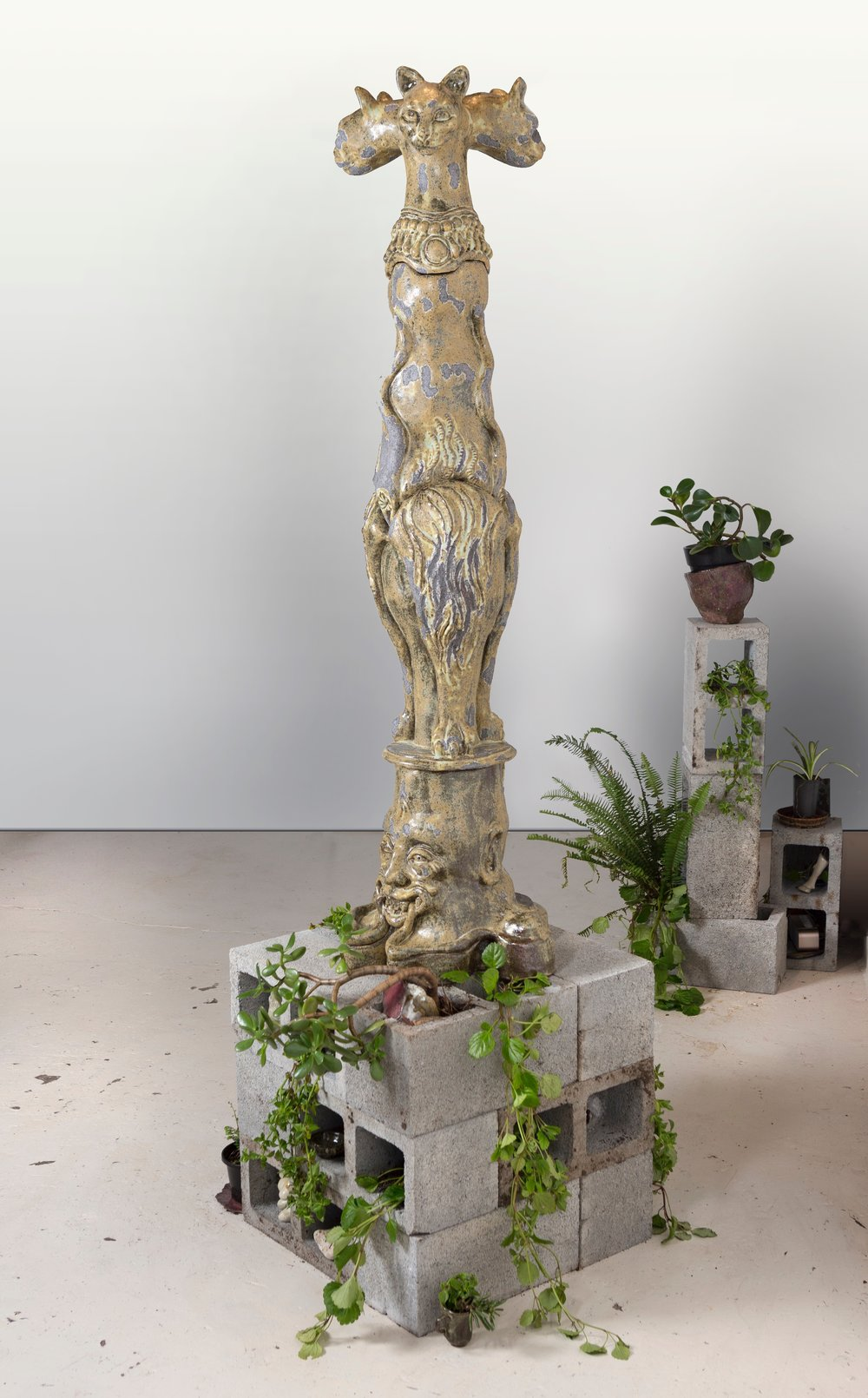 Mystic Kitten 2015, hand built ceramic, stoneware glaze, bessa blocks, plants, small sculptures, pots, cups, all hand made ceramic, sound embedded into sculpture by Adam Cox