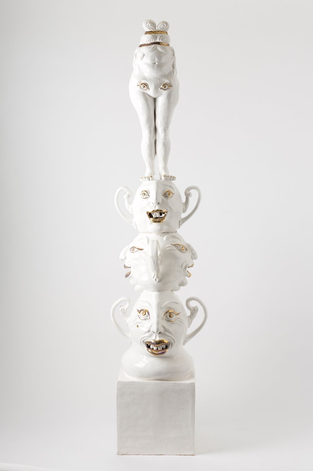 Boubo Sacred Fool, 2016 hand built buff raku, porcelain slip, glaze, gold lustre, photo: Jessica Maurer
