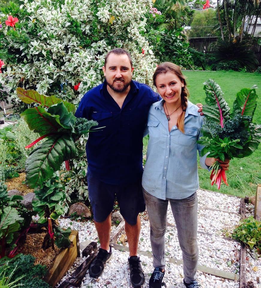 Lukas from Own Grown Organics and Melissa the Garden Coordinator