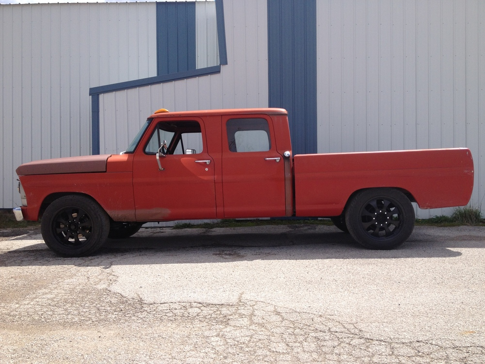 1967 F250 Crew cab .   Fully rebuilt front suspension and steering. Lowered down about 3 inch.  Used a 98 f250 Rear axle. Custom E brake cables So I could use the factory Foot Ebrake.   The brakes are 75 Camper special units. brake booster is from a 06 Chevy 2500 with billet adapter  I designed. All aeroquip TFE stainless power steering lines.   wheels are Weld 20'' units.   This was a great daily driver project.