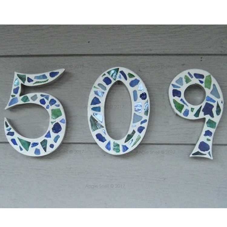 Green & Blue Glass Mosaic House Numbers