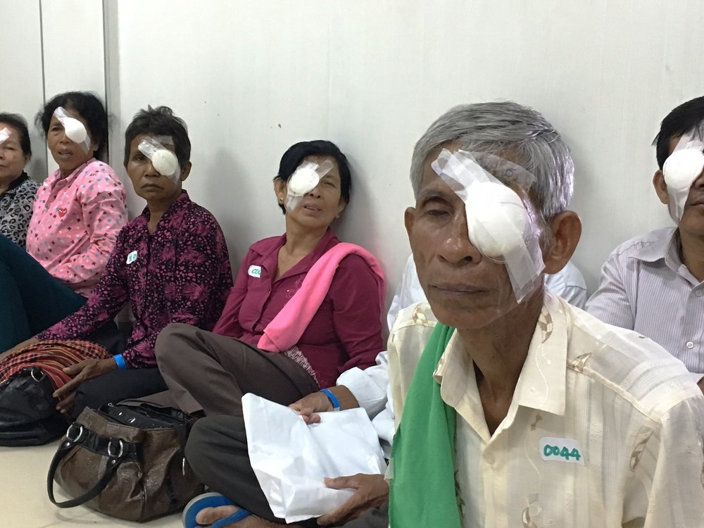 Patients waiting for post operation eye check