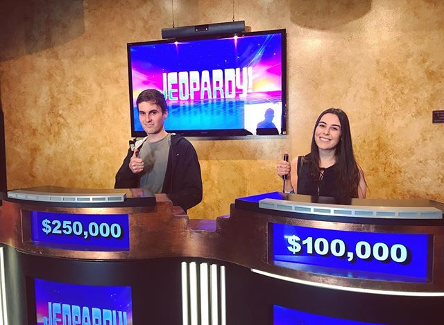 20+ years of nightly @jeopardy dinners have led to this. Catch us cheering on a quirky Trebek // shaking our heads at unwise daily-double wagers in 3 different episodes, airing first week of November⏳📺💰 @jimmyvillaflor