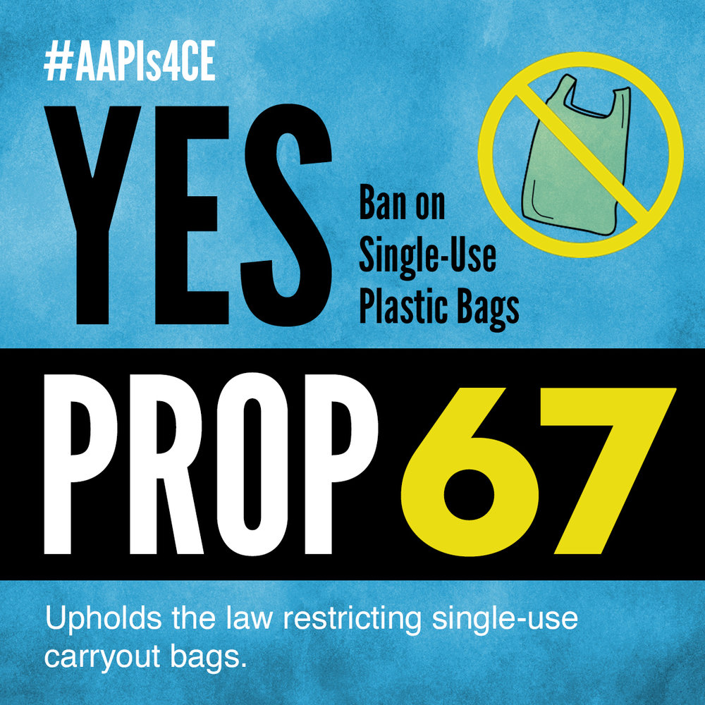Yes on Proposition 67: Ban on Single-use Plastic Bags